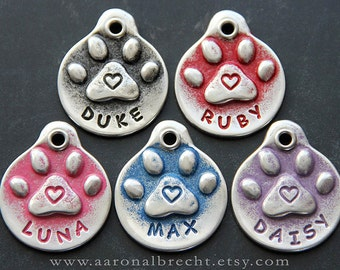 Hand Stamped Dog Tag Pet ID Tag Pet Tags Classic Dog ID Tag Dog ID Name Tag Handmade Paw Print Heart
