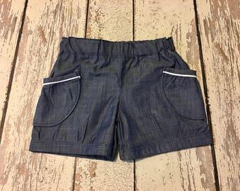 Chambray bubble shorts- chambray shorts, chambray shorts, girls chambray shorts, baby chambray shorts