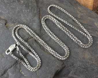 "24"" Silver Chain - Sterling Silver Chain -  Silver Box Chain - Thick Chain - Oxidized Silver Chain - Long Silver Chain - Sweet Water Silver"
