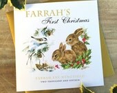 Personalised Baby's First Christmas Card | Bunny or Fox Design