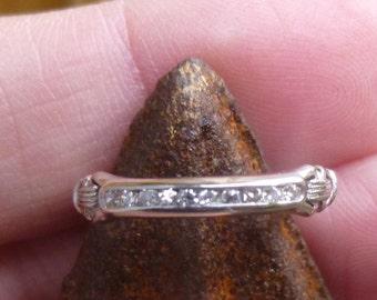 Art Deco Vintage Deco .15 Ct Diamonds PLATINUM Engagement Ring Wedding Band Stacker band