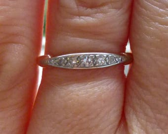 Art Deco Vintage Deco .10 Ct Diamonds 14Kt/18kt yellow and  White Gold Engagement Ring Wedding Band Stacker band