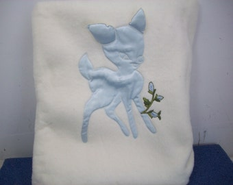 Vintage The Galante Studio Baby Blanket White With Blue Satin Deer and Edges