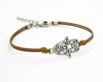 Hamsa Hand Bracelet, Caramel Brown Bracelet, Waxed Cord Bracelet, Hand of Fatima Bracelet, Friendship Bracelet