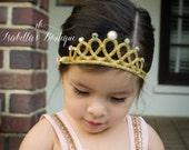 Gold Princess Crown - Baby Tiara - Newborn Baby Crown - Gold Glitter Crown - First Birthday Crown - Baby Headbands - Princess Crown Headband