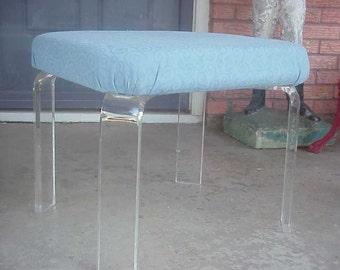 LUCITE Acrylic Mid Century Vanity Bench Seating