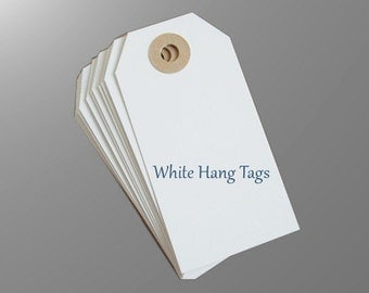 Large Shipping Paper Tags , 150 BLANK White Hang Tags - Reinforced Hang Tags - 2 3/8 x 4 3/4