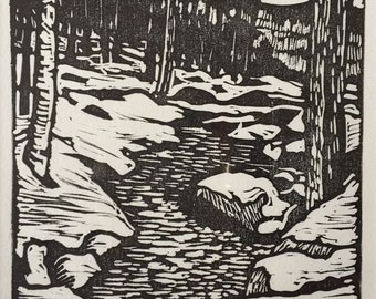 Goffstown Stream Block Print
