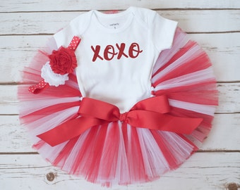 "Valentines day baby outfit ""Ava"" XOXO girls valentine party outfit first valentines tutu set baby girl valentines outfit red and white tutu"