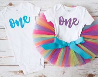 "Twins rainbow first birthday ""Teresa"" Twins first birthday outfit boy girl twins cake smash birthday twins outfits twin birthday"