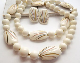 Vintage Japan Ceramic Pink Gold Silver White Bead Necklace Clip Earrings Set U6