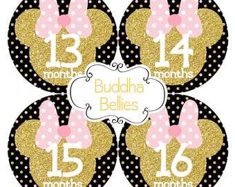 Minnie First Birthday Gift - Month Stickers - Baby Girl Monthly Stickers - Mouse Ears Decals - Baby Monthly Stickers - Photo Stickers