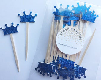 24 Crown Cupcake Toppers | Glitter | 1 1/2""