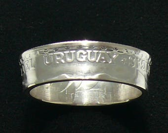 Silver Coin Ring 1943 Uruguay 50 Centesimos, Ring Size 8 1/2 and Double Sided