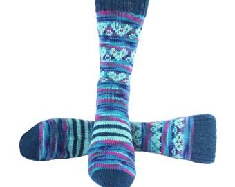 Socks, Hand Knit Unique Socks, Heart Socks, Heart Design, Boho Socks, Men Women Socks, Bohemian Socks, Blues, Stylish Socks, Unique, Gift