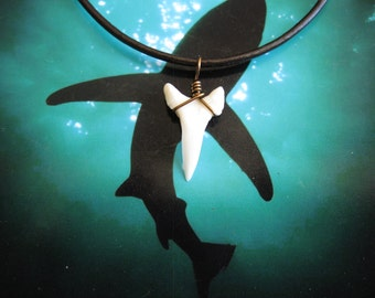 Shark Tooth Necklace, Modern Day White Shark tooth, Bronze wire wrapped, Leather cord