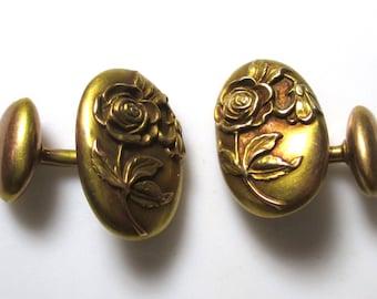Vintage basemetal cufflink with flower design - cuff link