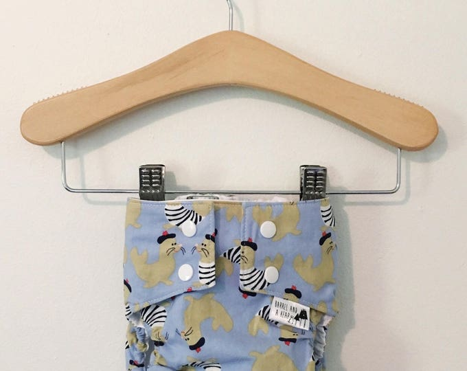 Blue French Seals PUL Lined Water Resistant Diaper Cover Available in Small