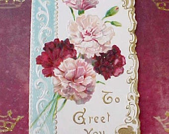 Beautiful Victorian Die Cut Greeting Card with Pink and Crimson Carnations