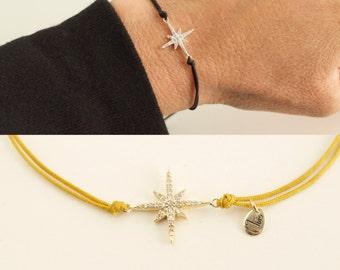 CZ northern star bracelet - north star cord bracelet - adjustable cz star bracelet - cz silver-gold-rose gold northern star
