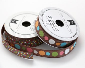 Brown Dots Grosgrain Ribbon 3/8 -- 8 feet -- American Crafts -- 9.5mm