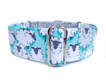Counting Sheep Dog Collar - 1 inch or 1.5 inch Martingale Collar or Buckle Collar, Aqua and White Modern Cute Sheep Dog Collar