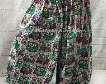 Owl 4 yard cotton harem pants, bloomers, pantaloons, ATS, ITS, belly dance