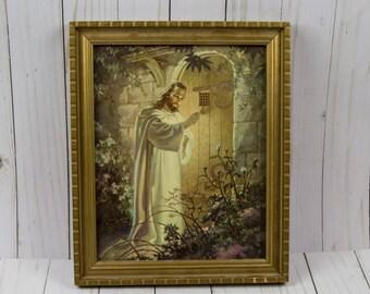 Vintage 1942 Jesus Christ Warner Sallmans Kriebel & Bates Lithograph Framed Print