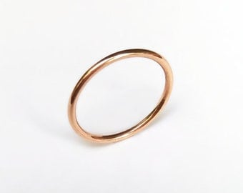 9ct Rose Gold Halo Wedding Ring Band - Stacking, Simple, Delicate