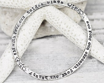 Golden Wings Bangle - Inspirational Bangle - Word Jewelry - Sterling Silver - B910