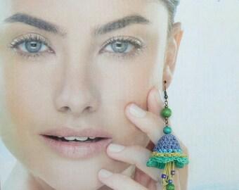 Chandelier floral earrings, Statement fiber earrings, Large crochet textile earrings, Blue flowers accessories, Dangle Big boho earrings