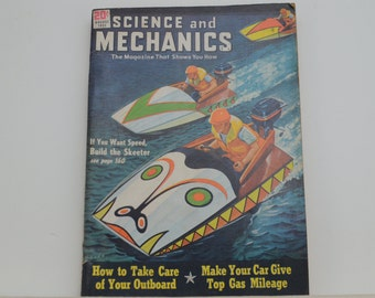 Science and Mechanics Magazine, August 1951 - Great Condition - Fascinating Articles, Hundreds of Vintage Ads, Harley Davidson 125 Ad