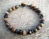 Mens surfer bracelet, etched agate dzi, sandalwood and bone beads, handmade mens beaded bracelet, natural materials on strong cord, OOAK
