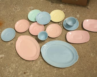 Set of 14 Pieces, Lu Ray Pastels, Taylor Smith and Taylor, Conversations, Mid Century Kitchen, Pink, Blue, Yellow, Green, Platters, Teacup