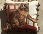 Vintage Deadstock Needlepoint Throw Pillow (Brown Cat/Never been used/New) *With Pillow Insert