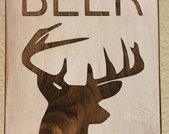 Oh Deer I need a Beer Bottle Opener Wood Handpainted Stained Handmade