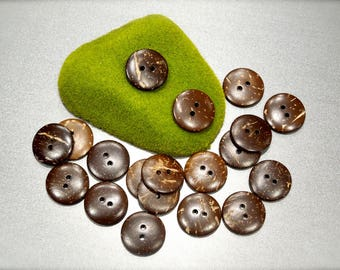 VINTAGE: 35 Coconut Buttons - Wood Buttons - Natural Buttons - Sewing, Crafts, Jewelry, Quilting - SKU 17-B1-00008150