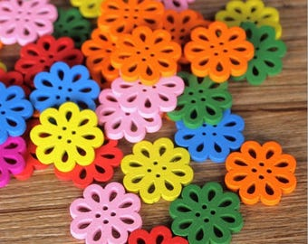 "30 PC Painted wood buttons 20mm - Wooden Buttons ,tree buttons, natural wood buttons ""flower"" A079"