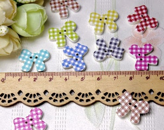 """30 PC Painted wood buttons 20mm - Wooden Buttons ,buttons, natural wood buttons """"bow"""" A112"""