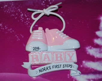 Peronalized Girl's First Steps Baby Shoes Christmas Ornament