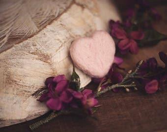 Felted Mini Pink Heart Stuffie Photography Prop Newborn Props
