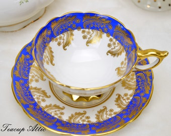 Royal Stafford White And Blue Teacup and Saucer, Vintage English Bone China Tea Cup, Wedding Gift,  ca. 1950