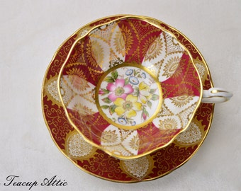 ON SALE Paragon Red and Gold Teacup and Saucer with Floral Panels, English Bone China Teacup, Cabinet Teacup, ca. 1957-