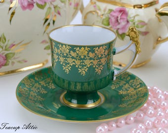 Waldershof Germany Hand Painted Green Demitasse coffee cup 22 k Gold, Porcelain Demitasse Teacup, Miniature Teacup, Child's Tea Party