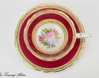 Royal Stafford Red And Cream Teacup and Saucer With Floral Center, Vintage English Bone China Tea Cup, Wedding Gift,  ca. 1950