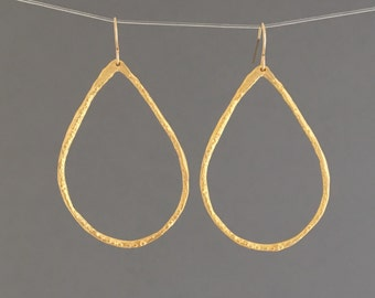 Small Gold Teardrop Hoop Earrings also in Silver