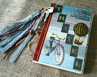 Mixed-Paper Journal - Vintage Travel - Reader's Digest Book Covers-  Junk Journal, Ephemera Smash Book, Altered Art Notebook, Traveler Gift
