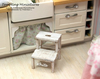 10% OFF - Wooden 2 Step Stool - 5 Different Finishes - 1:12th Dollhouse Miniatures
