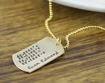 Personalized 14k gold filled dog tag necklace, Hand stamped dog tag necklace, Anniversary Gift