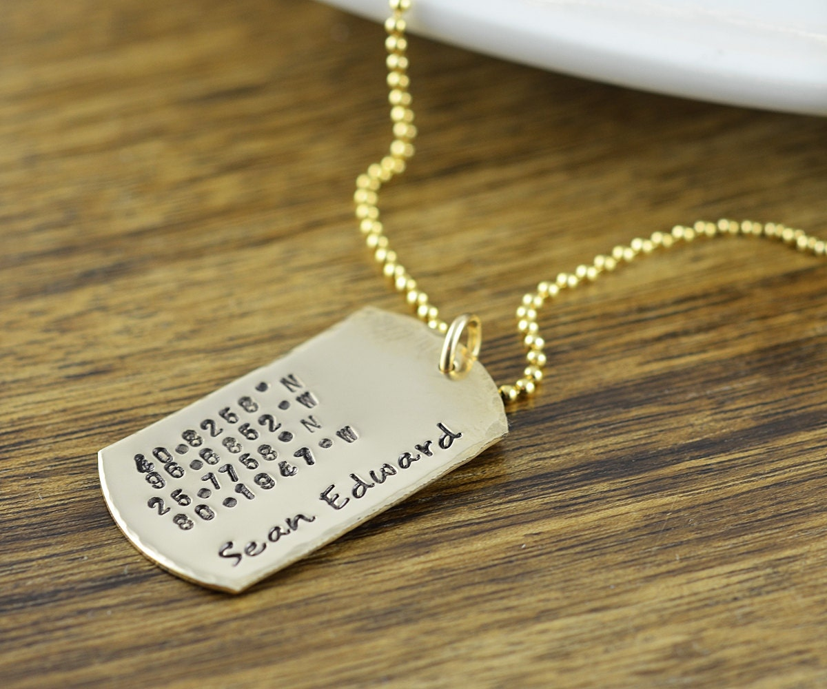 Personalized 14k Gold Filled Dog Tag Necklace Hand Stamped
